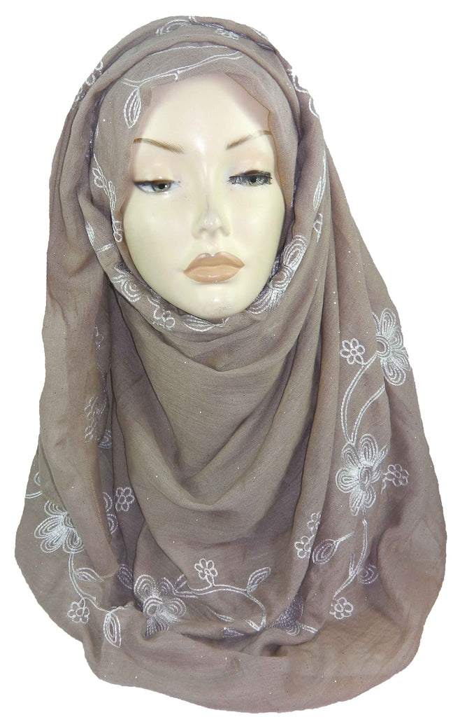 Embroidered Maxi Scarf ES11-Beige/white