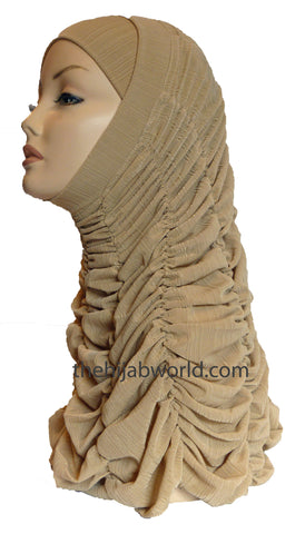 GATHERED 2-PIECE AL-AMIRA - BEIGE CRINKLE
