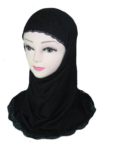 DELUXE LACE EDGE HIJAB - GIRLS - black