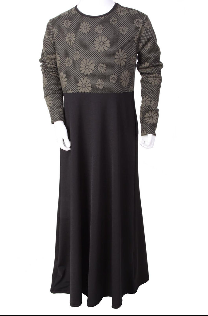 Floral Winter Girls Abaya K - Khaki