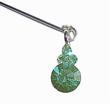 CRYSTAL DANGLING PIN-GREEN