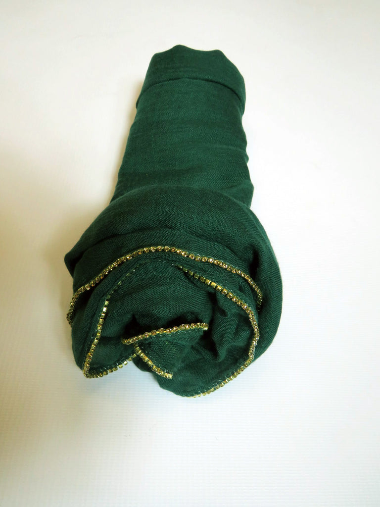 Scarf/Hijab with Crystal Trim Edged    -ES19- Dark Green/Gold