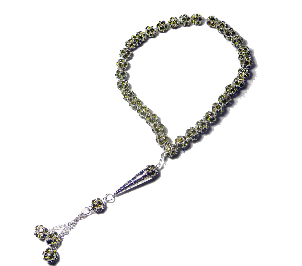 SHAMBALA TYPE PRAYER TASBEEH - OLIVE CRYSTAL