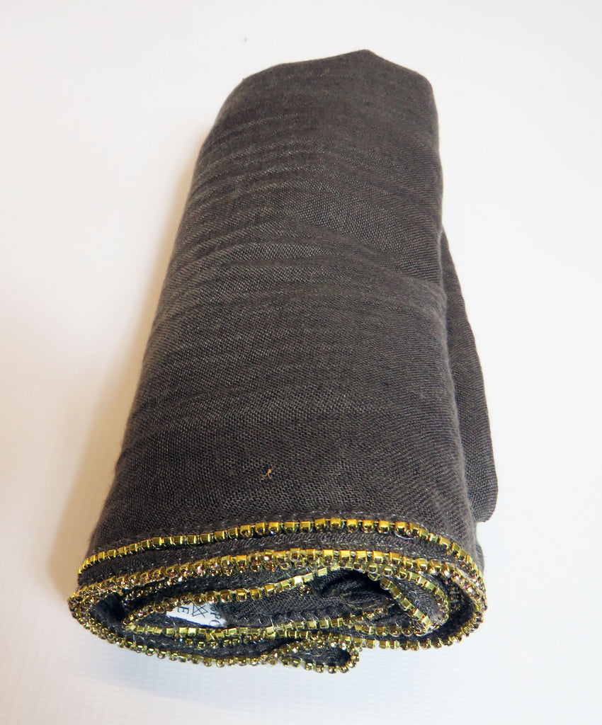 Scarf/Hijab with Crystal Trim Edged    -ES19- Charcoal/Gold