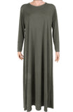 ESSENTIAL PLAIN JERSEY ABAYA CA- GREY