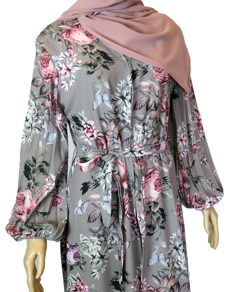 Floral Kimono with balloon sleeves FA - Grey