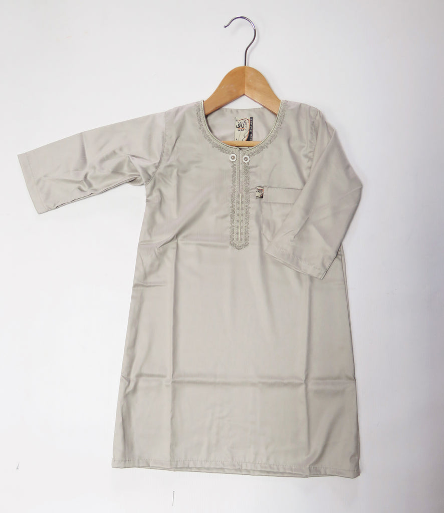 Ikaf Toddler and Kids Embroidered Thobe/Jubba - Stone sz. 18- 42 length