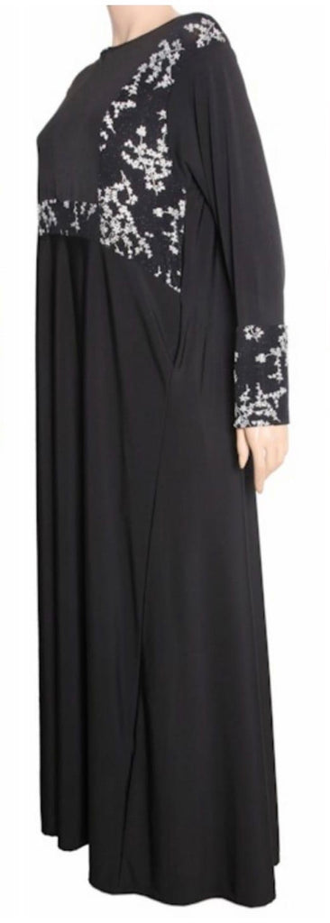 Abaya with Zip and print - FA Black