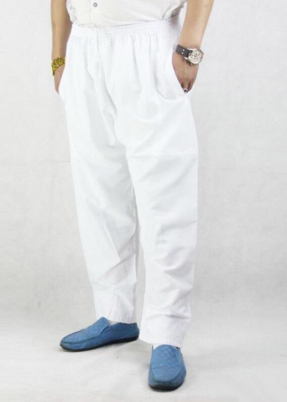 IKAF UNDER THOBE TROUSERS/PANTS- White with pocket