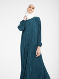 Crinkled plisse Maxi Dress/Abaya by Zadina CA321-Teal Green