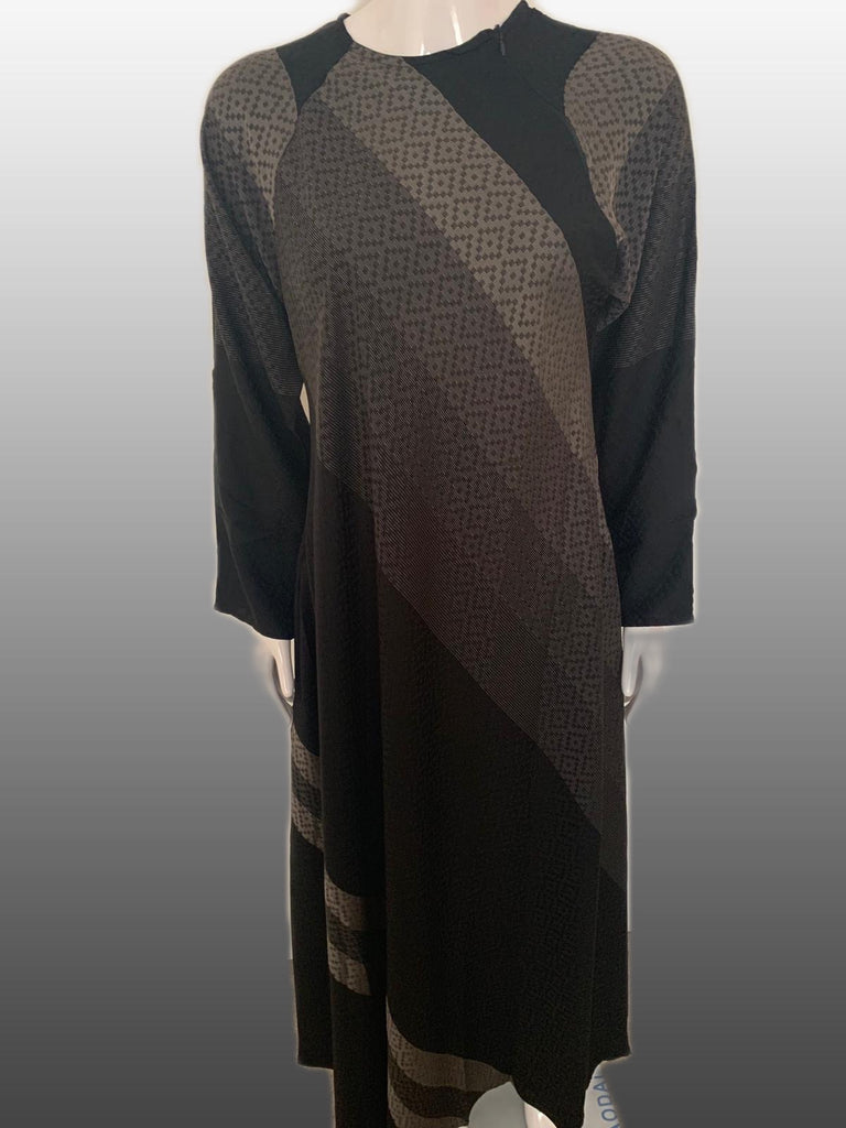 Printed Nida Close with Zip Abaya -Grey  1020