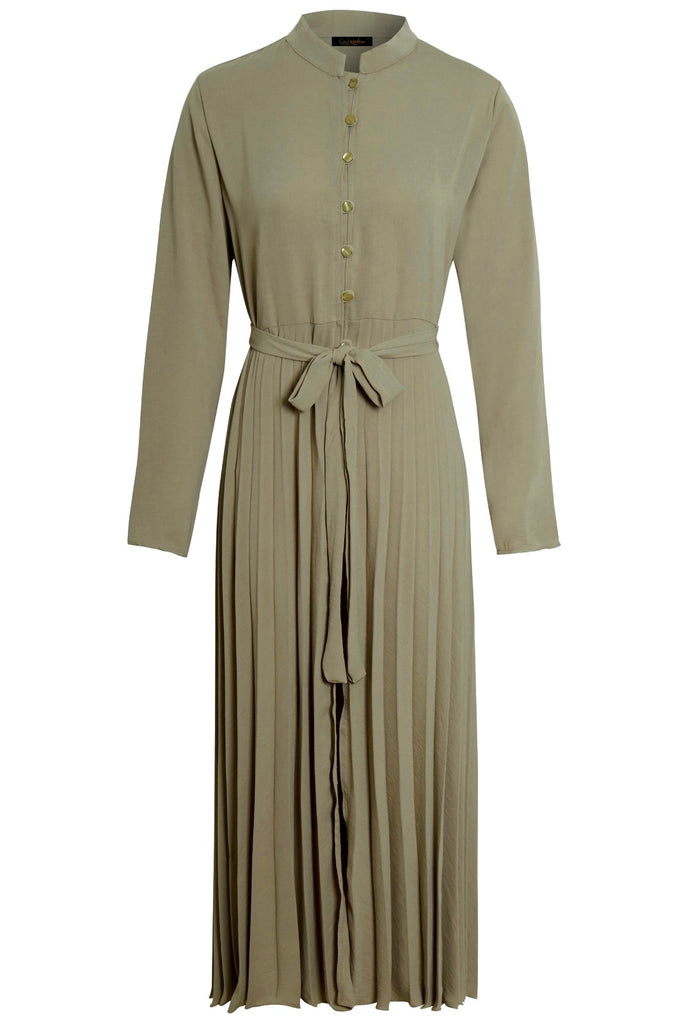 Pleated Maxi Dress/ Kimono MC  - Light Khaki