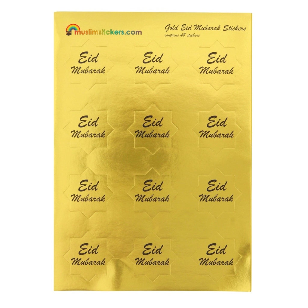 EID MUBARAK STICKERS PACK - 48 Gold