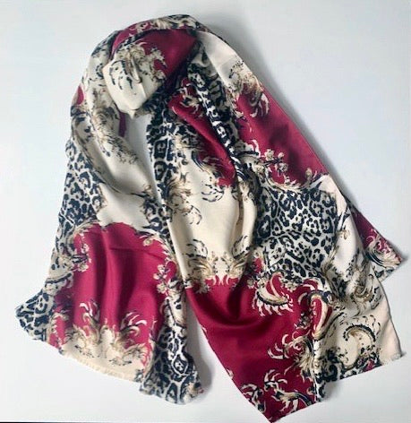 Winter Printed Large Shawl/Scarf - PS- Red mix