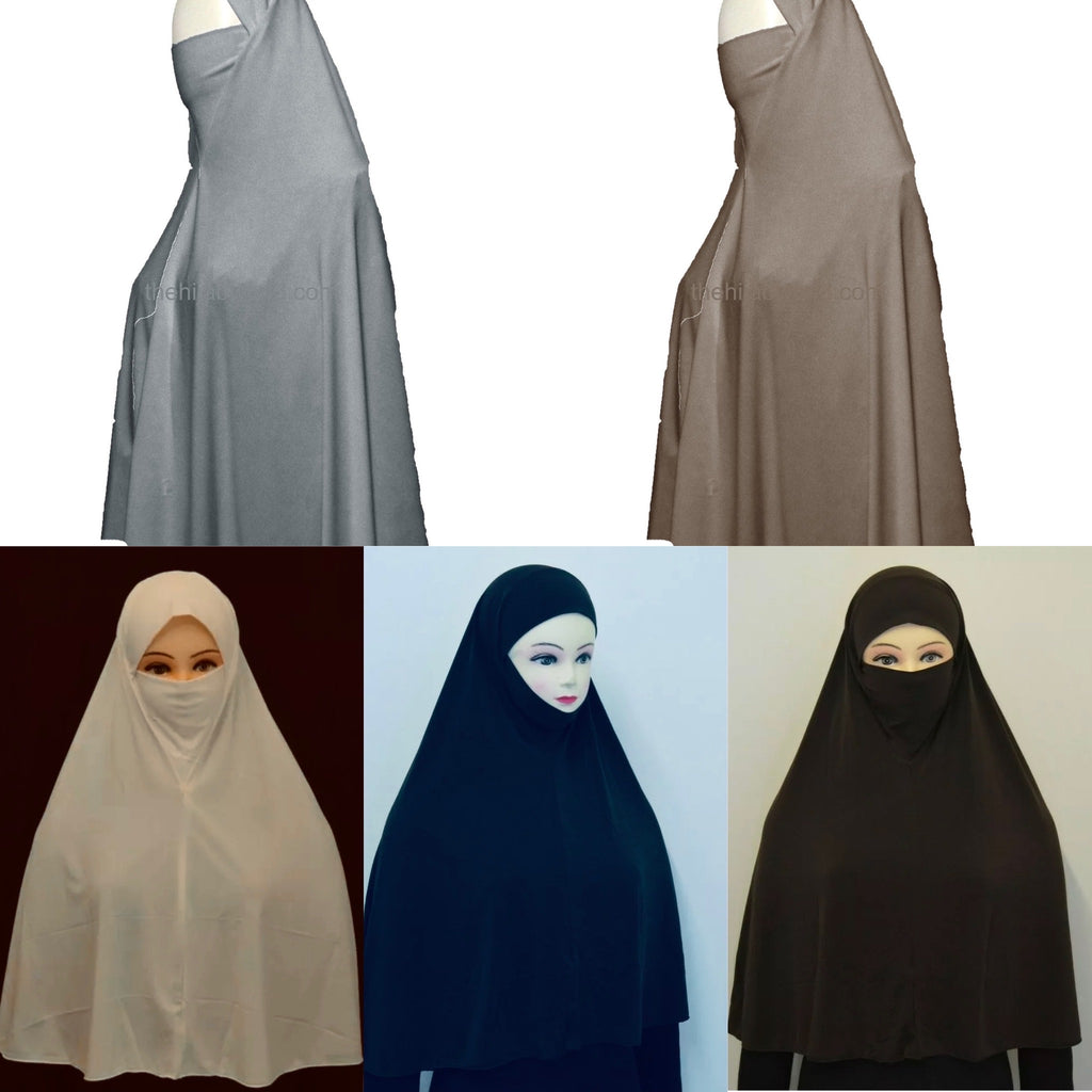 3XL Quality 2 in 1 Hijab Burkha/Khimar - Colours
