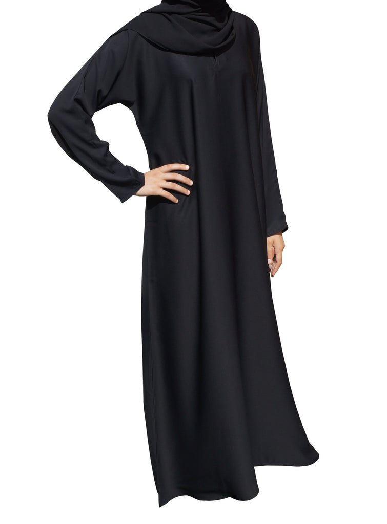 Plain silky feel Abaya CA04- BLACK