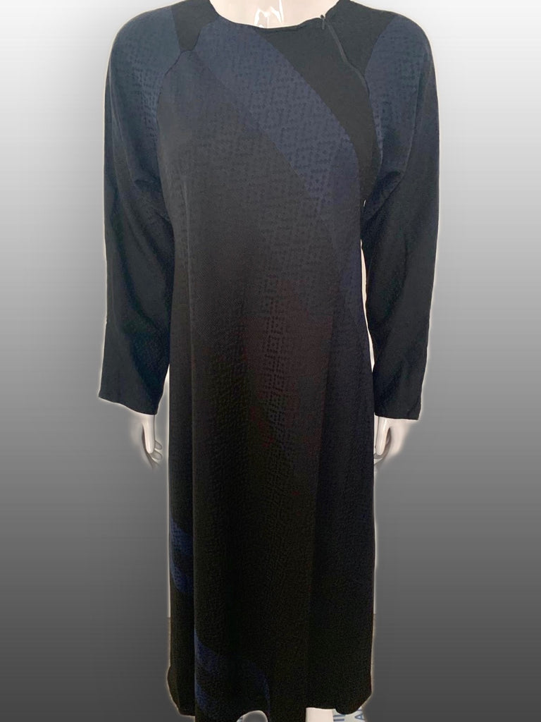 Printed Nida Close with Zip Abaya -NAVY 1020