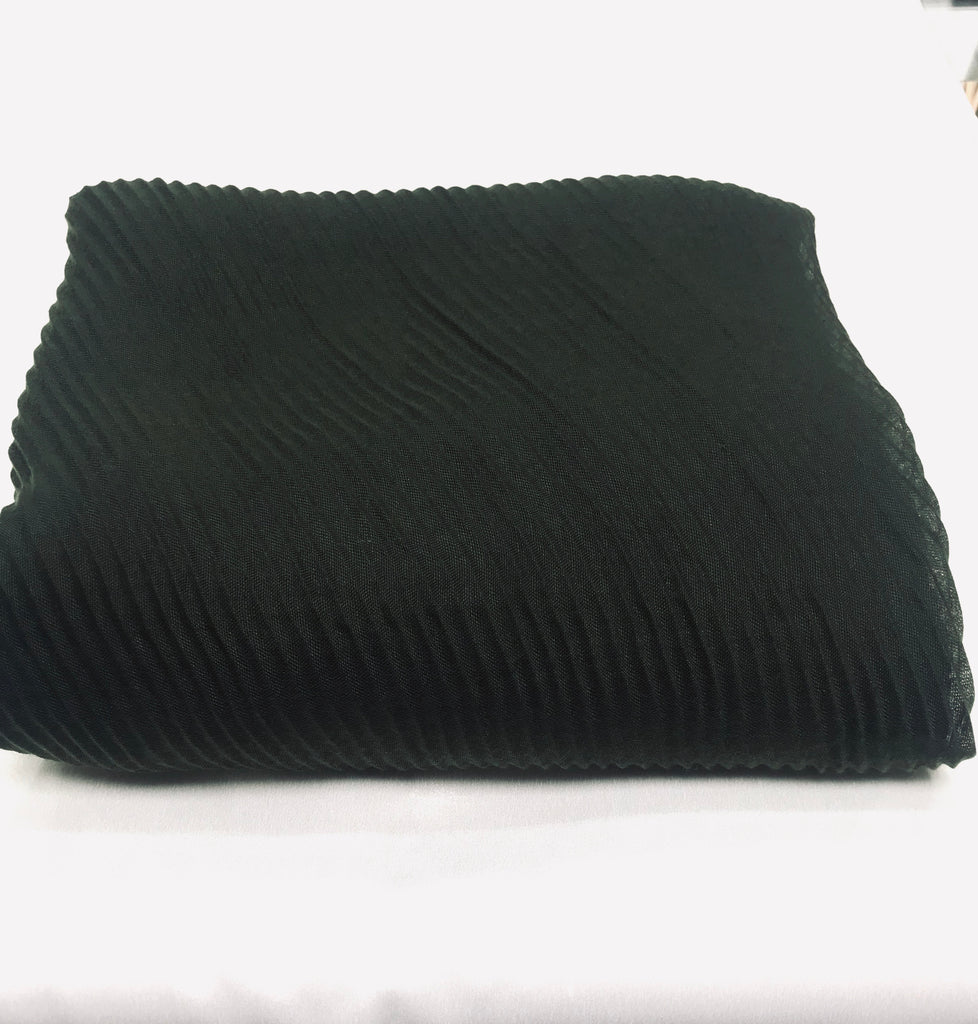 Extra Large Pleated Hijab/ Scarf  PH- Black