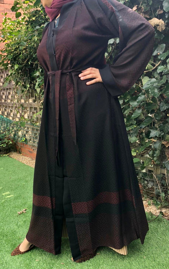 Printed Nida Open/ Close Abaya - Maroon 920