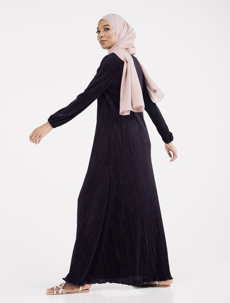 Pleated plisse Maxi Dress/Abaya CA321-BLACK