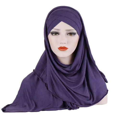 Easy Wear Jersey Criss Cross Hijab JEH- Purple