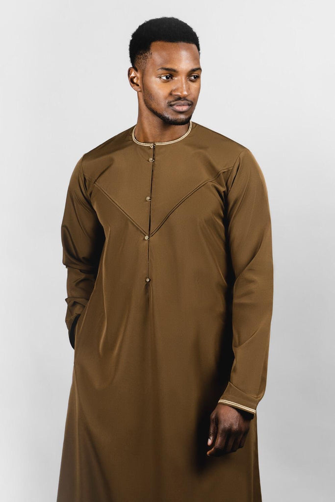 Faris Latest Mens Jubbas/Thobe - Emirati Brown