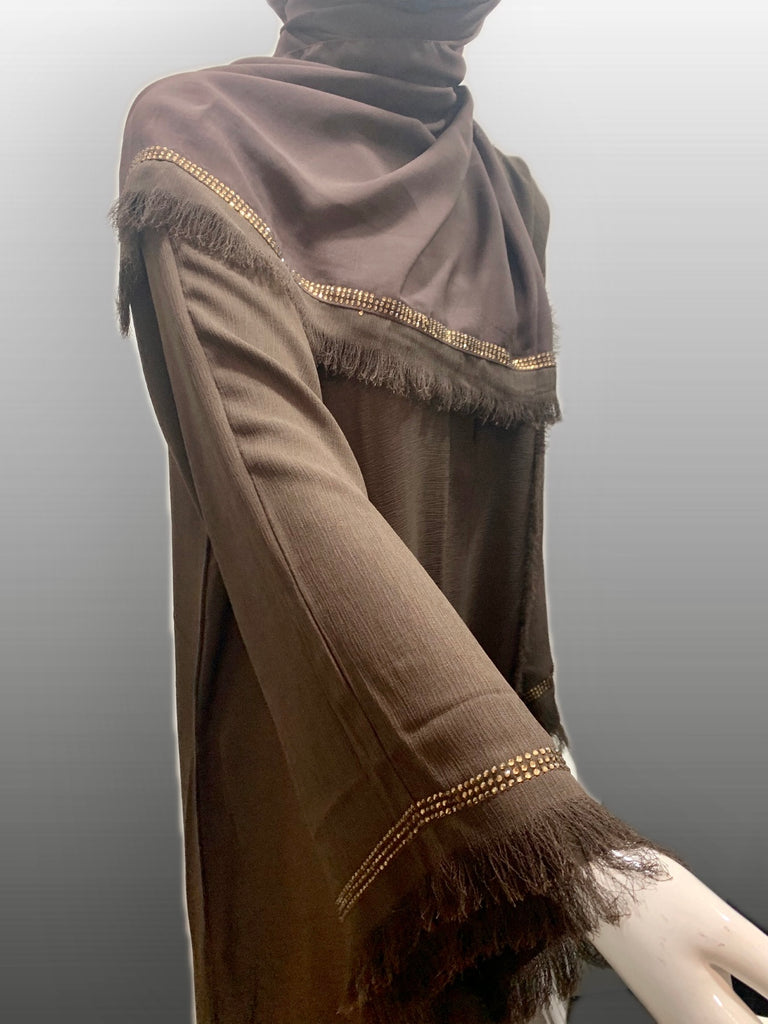 New Crinkle Open/ Close Abaya -Brown FA3620