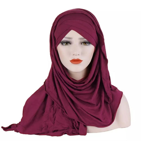 Easy Wear Jersey Criss Cross Hijab JEH- Maroon