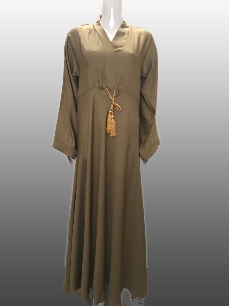 Coloured String Abaya FA10- Khaki