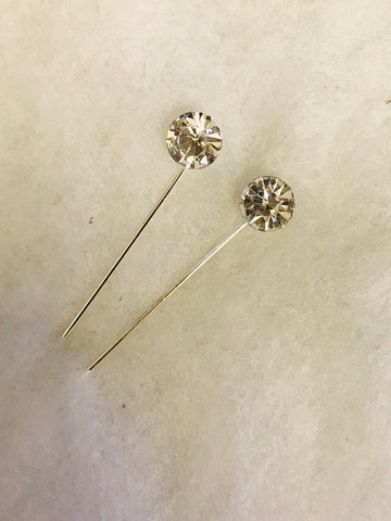 Pair of Crystal STICK PIN HP19- Silver