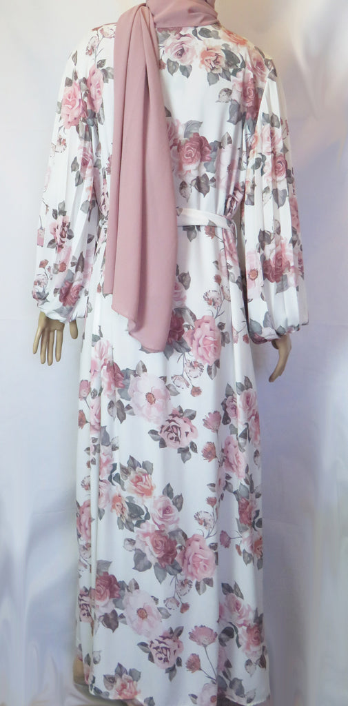 Floral Kimono with pleated balloon sleeves FA - Ivory