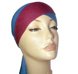 Layered Bonnet Cap - Blue and maroon