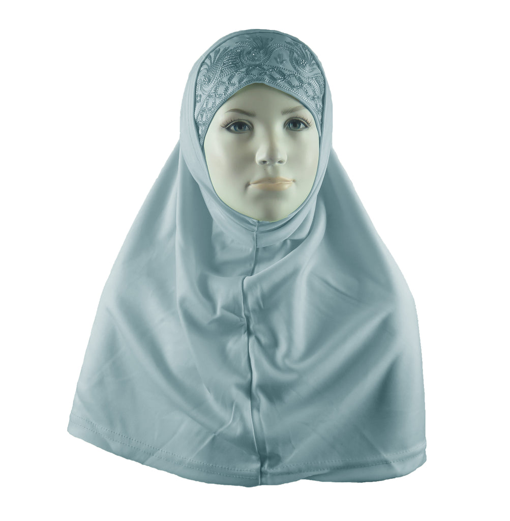 BEADED GIRLS HIJAB - Pale Blue 2 PIECE