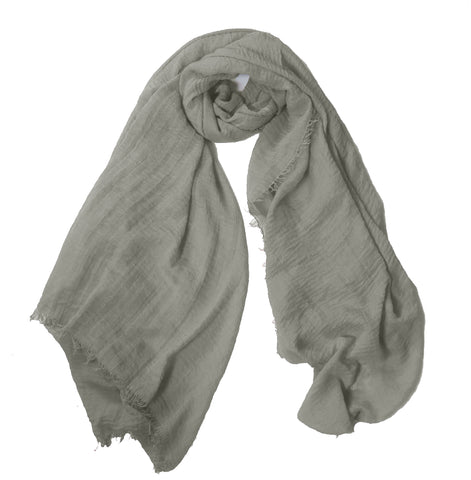 Crimp Frayed Edged Hijabs- Light Grey