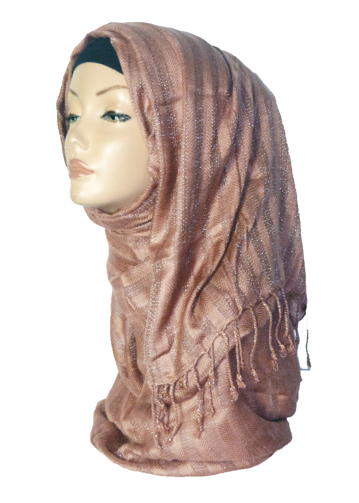 SILVER LINED SHAWL OS- BEIGE