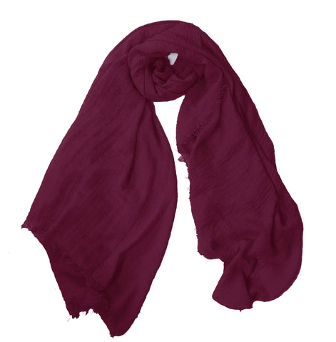 Crimp Frayed Edged Hijab - Maroon