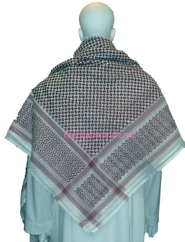 MENS ARAB SCARF/YASHMAGH -WHITE AND MAROON