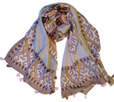 Latest Printed Large Shawl/Scarf  with tassel- Mink Mix shade