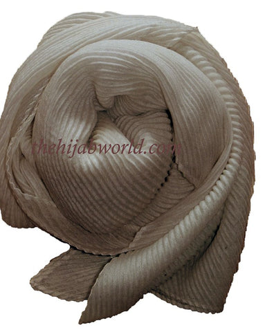 Pleated  Hijab/Scarf - Mocha