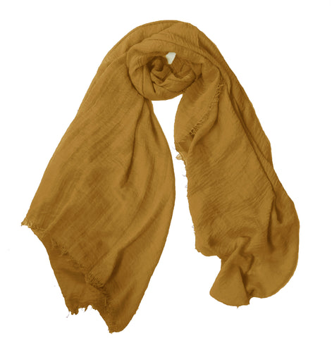 Crimp Frayed Edged Hijab - Mustard