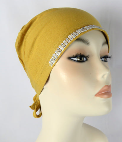 Diamante Tie up Bonnet Ac- Mustard