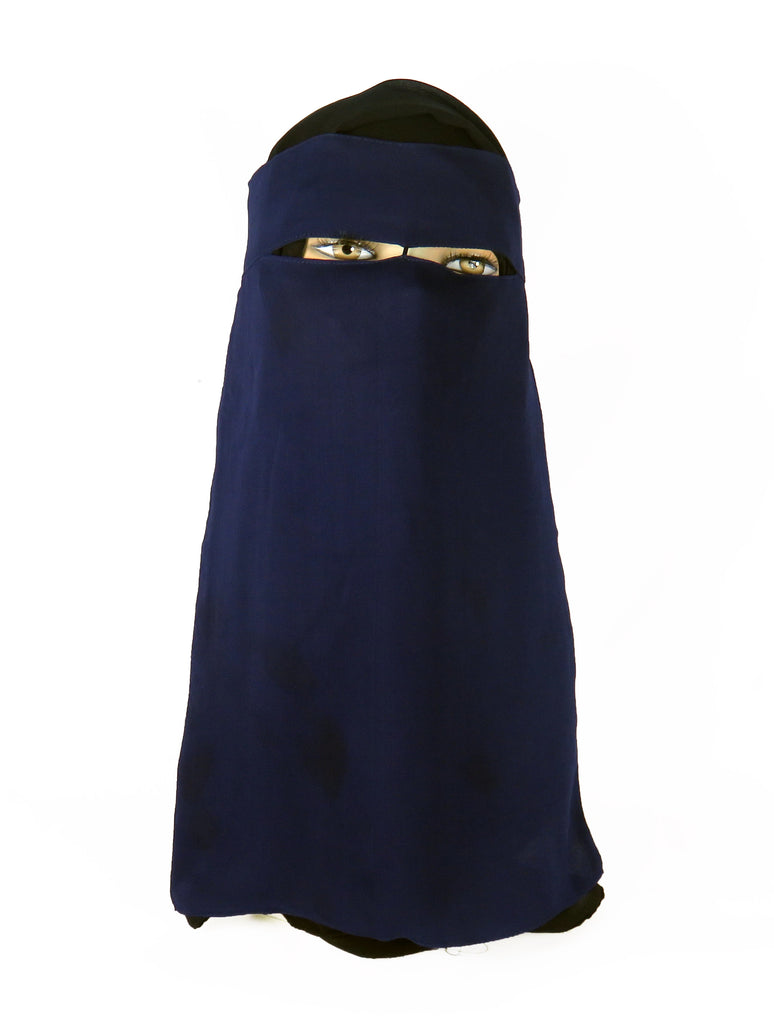 Niqab with Velcro - Navy Ac-03