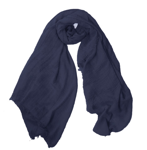Crimp Frayed Edged Hijab - Navy