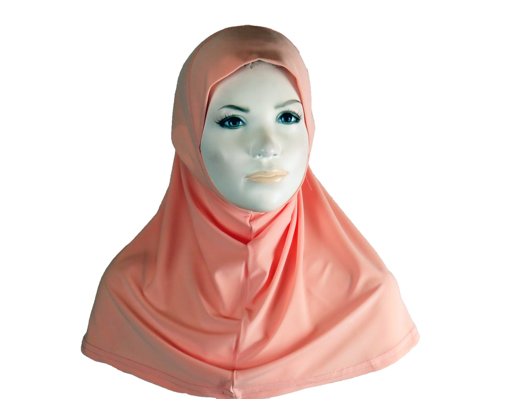 Girls Lycra One Piece Hijab  - Peach S