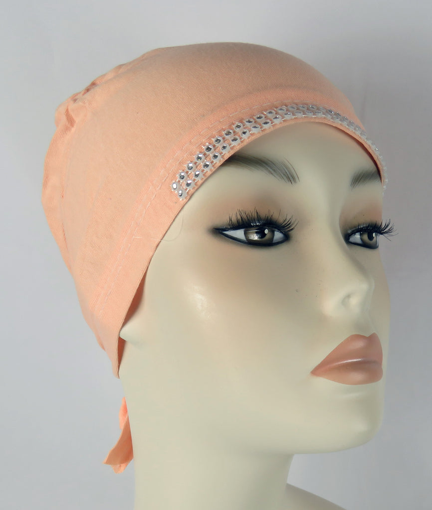 Diamante Tie up Bonnet Ac- Peach