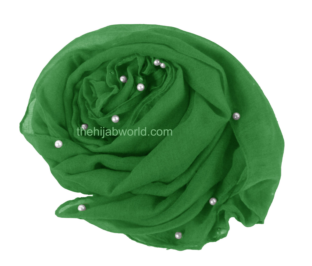 Maxi Scarf with Pearl Beads - Green