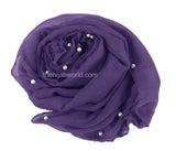 Maxi Hijab with pearl Beads - Deep Purple