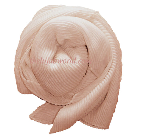Pleated  Hijab/Scarf - Pale Coral