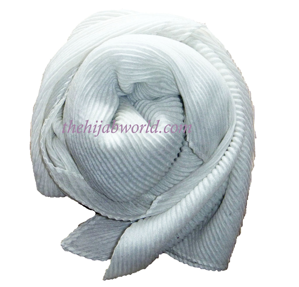 Pleated Hijab /Scarf -Off White