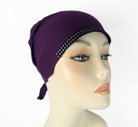 Diamante Tie up Bonnet Ac- Purple